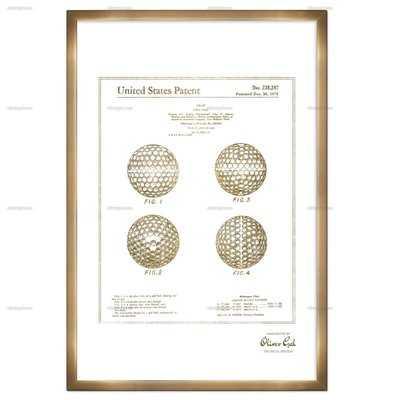 'Golf Ball 1975' Framed Memorabilia in Gold - Wayfair