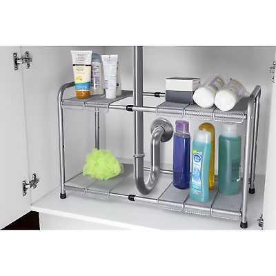Home Basics Grey 2-tier Adjustable Cabinet Organizer - eBay