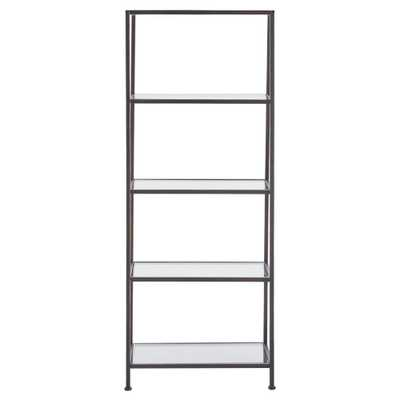 Bella Aged 24 in. Wide Bronze Glass Bookcase, Aged Bronze - Home Depot