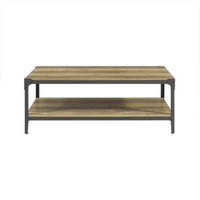 Angle Iron Rustic Wood Coffee Table - Rustic Oak - Home Depot