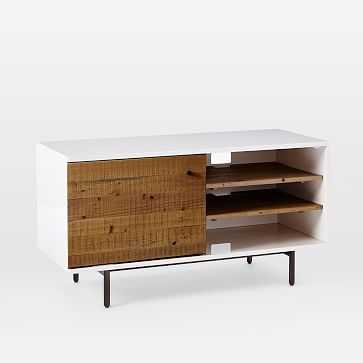 Reclaimed Wood + Lacquer Storage Short Media, Reclaimed Wood / White - West Elm