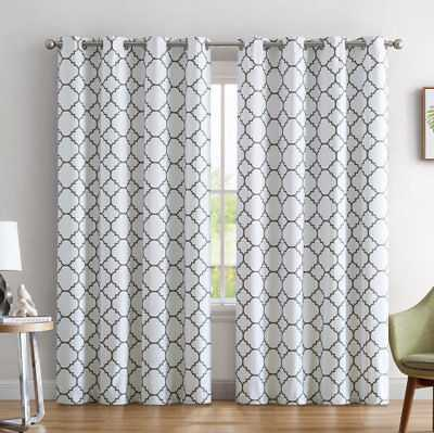 "Yeates Moroccan Geometric Max Blackout Thermal Grommet Curtain Panels Set of 2: White/Gray - 52"" W x 84"" L - eBay"