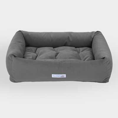 Large Rectangular Gray Microsuede Dog Bed by World Market - World Market/Cost Plus