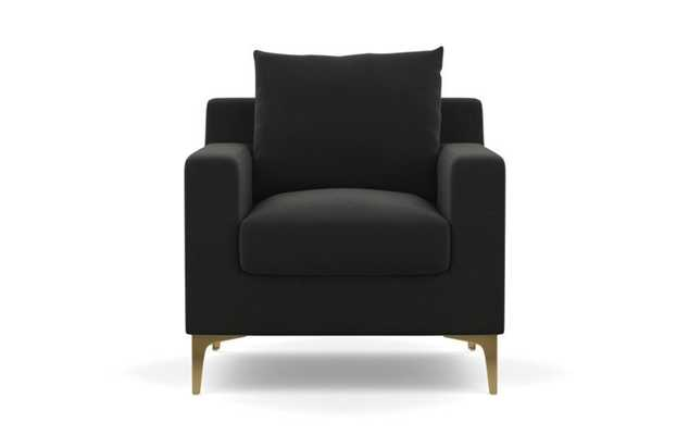 Sloan Petite Chair with Shadow Fabric and Brass Plated legs - Interior Define