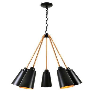 Kenroy Home Alvar 5-Light Black Chandelier with Black Shade - Home Depot