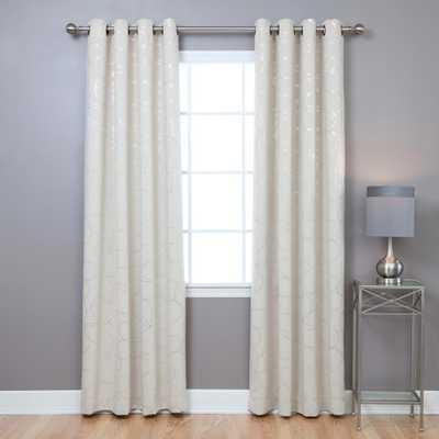 Best Home Fashion 96 in. L Polyester Flower Foil Blackout Curtains in Biege (2-Pack), Beige Flower Foil - Home Depot