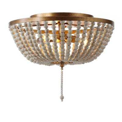 JONATHAN  Y Allison 15 in. Wood Beaded/Metal LED Flushmount, Antique Gold / Cream - Home Depot
