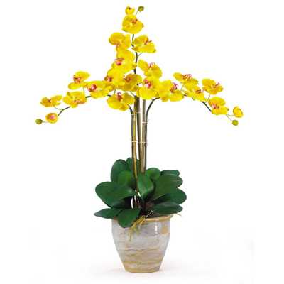 27 in. Triple Phalaenopsis Silk Orchid Flower Arrangement in Yellow - Home Depot
