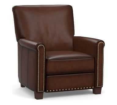 Irving Roll Arm Leather Power Recliner with Bronze Nailheads, Polyester Wrapped Cushions, Burnished Walnut - Pottery Barn