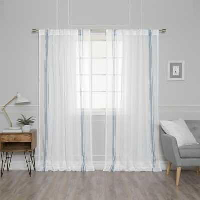 Best Home Fashion 84 in. L Sheer Faux Linen Blue Triple Stripe Curtains in Ivory (2-Pack), Ivory Panel Blue Stripes - Home Depot