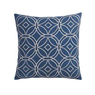 20 in. x 20 in. Denim Blue Geometric Embroidered Pillow Cover, Blues - Home Depot