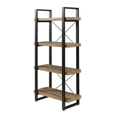Bourbon Foundry 4-Tier Bookshelf, Wood and Black Steel, Brown - Home Depot