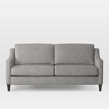 """Paidge 72.5"""" Sofa Poly, Deco Weave, Feather Gray, Cone Chocolate - West Elm"""