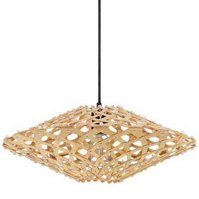 """Craftmade P695ESP1 1-Light 18"""" Wide Pendant with Natural Woven Wood Shade - eBay"""