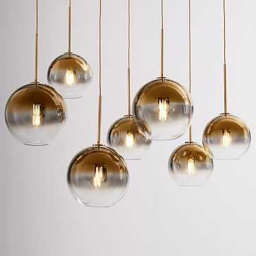 Sculptural Glass 7-Light Linear Chandelier, S-M Globe, Gold Ombre Shade, Brass Canopy - West Elm