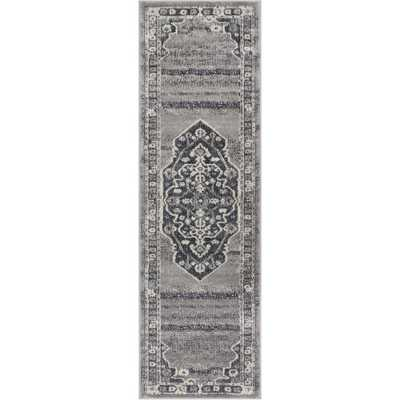 Pearl Republic 2 ft. 3 in. x 7 ft. 3 in. Traditional Persian Medallion Vintage Distressed Soft Dark Grey Runner Rug - Home Depot