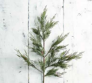 Faux Berry Juniper Branch, Green/Red - Pottery Barn