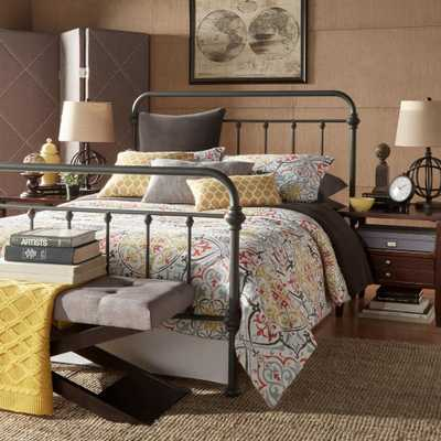 Calabria Grey King Bed Frame - Home Depot