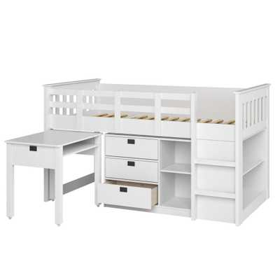 Madison 4 Piece All-in-One Single/Twin Loft Bed in Snow White - Home Depot