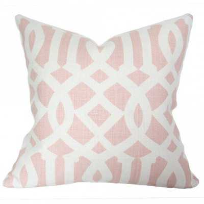 Imperial Trellis Blush - 24x24 pillow cover / pattern on front, solid on back - Arianna Belle