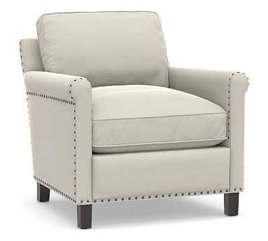 Tyler Roll Arm Upholstered Armchair with Bronze Nailheads, Down Blend Wrapped Cushions, Performance Everydaysuede(TM) Stone - Pottery Barn