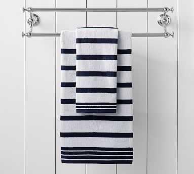 Ellert Stripe Organic Hand Towel, Navy Blue - Pottery Barn
