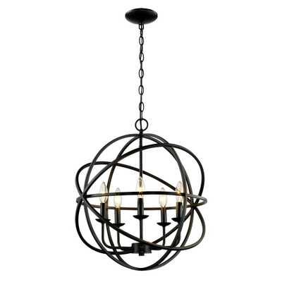 Bel Air Lighting 5-Light Rubbed Oil Multi Ring Orb Bronze Chandelier - Home Depot