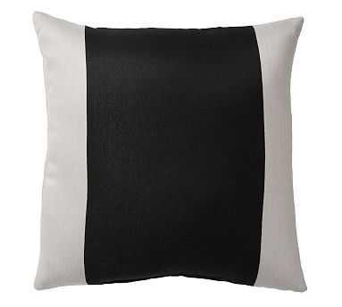 "Sunbrella(R) Runway Stripe Indoor/Outdoor Pillow, 24"", Black - Pottery Barn"