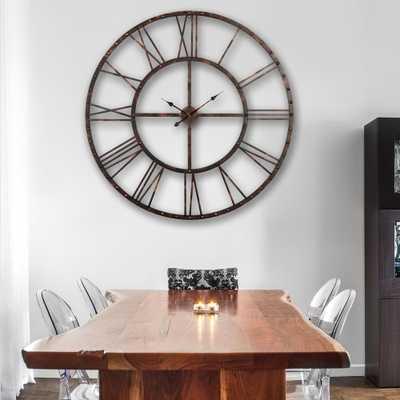 Rivet Roman 45 in. Distressed Bronze Oversize Wall Clock - Home Depot