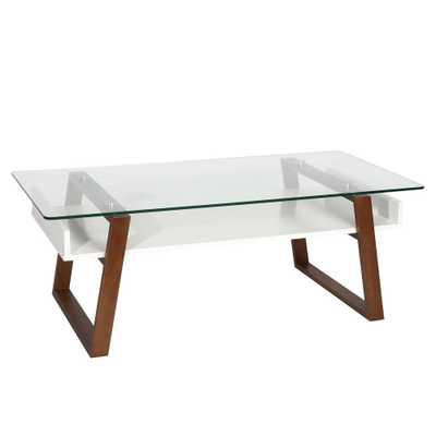 Segovia Walnut (Brown) Glass Top Coffee Table - Home Depot