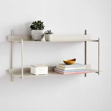 Floating Lines Wall Shelf, 2- Tiered, Paloma Gray - West Elm
