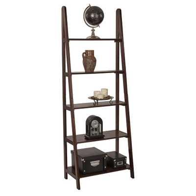Espresso (Brown) Ladder Bookcase - Home Depot