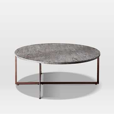 Korsa Coffee Table, Black Burnt Oak, Stainless Steel - West Elm