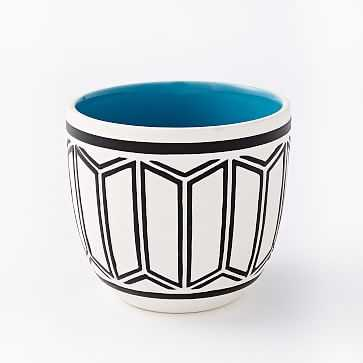 "Art in the Forest Cachepot, Scallop/Teal, 4"" - West Elm"