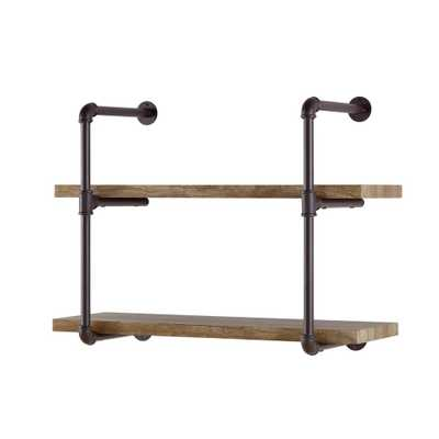 Urbanne Industrial Aged 2-Tiered Wood Print MDF and Metal Pipe Floating Wall Shelf, Brown - Home Depot