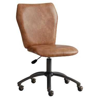 Cognac Faux-Leather Airgo Desk Chair, Armless - Pottery Barn Teen
