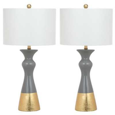 Safavieh Iris 30.5 in. Grey/Gold Table Lamp (Set of 2) - Home Depot