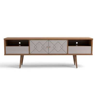Trinity 70.86 in. Off White and Maple Cream Mid-Century Modern TV Stand - Home Depot