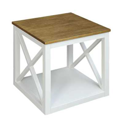 Botana White Side Table, Polar White - Home Depot