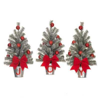 15 in. H Snowy Silver Glitter Mini Pine Trees in J-O-Y Buckets Set - Home Depot