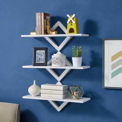 DANYA B 3-Shelf 27.5 in. x 10 in. White Diamonds Wall Mount Decorative Shelving Unit - Home Depot