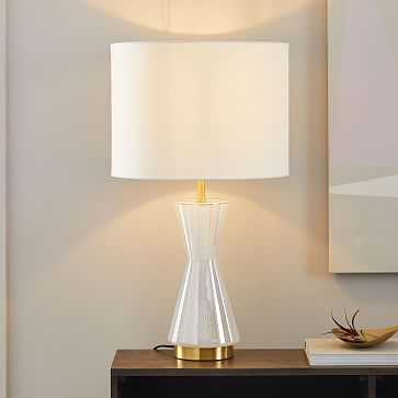 Metalized Glass Table Lamp + USB, Large, Pearl - West Elm