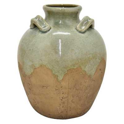 11 in. Green Ceramic Vase - Home Depot