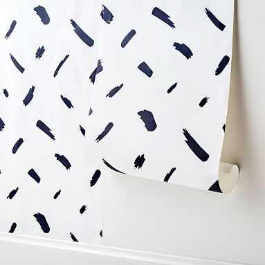 "Brushstroke Surestrip Wallpaper, 36""x9', Black/White, 36""x9' - Pottery Barn Teen"