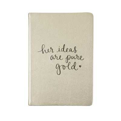 Eccolo Dayna Lee 6 in. x 8 in. Her Ideas Are Gold Journal, Gold - Home Depot