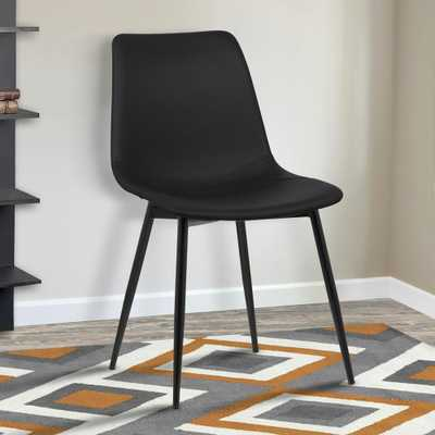 Monte 32 in. Black Faux Leather and Black Powder Coated Finish Contemporary Dining Chair - Home Depot