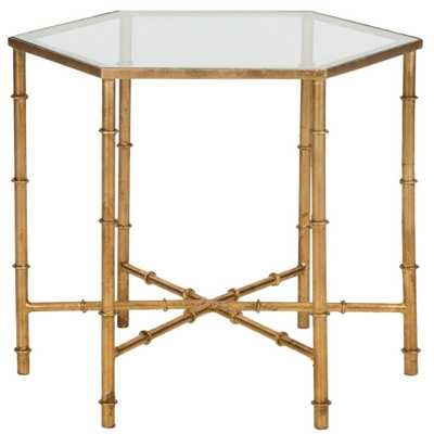 Kerri Gold End Table, Gold/Clear - Home Depot