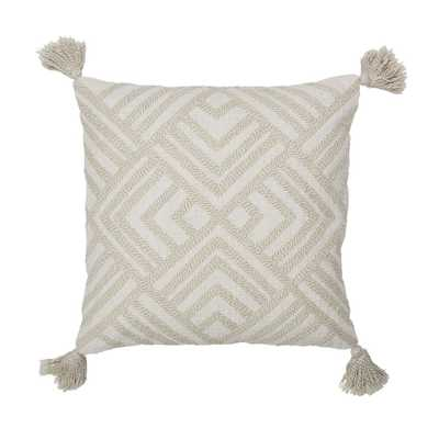 20 in. x 20 in. White and Natural Geometric Embroidered Pillow Cover, Whites - Home Depot