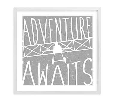 Adventure Awaits Vintage Airplane Wall Art by Minted(R), 16x16, White - Pottery Barn Kids