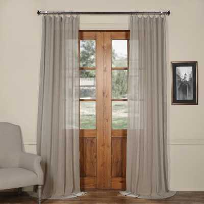 Exclusive Fabrics & Furnishings Paris Solid Faux Linen Sheer Curtain in Grey - 50 in. W x 84 in. L - Home Depot